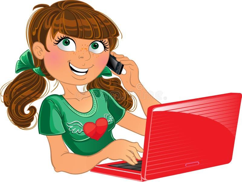 Menina Brown-haired com telefone e o portátil vermelho ilustração do vetor