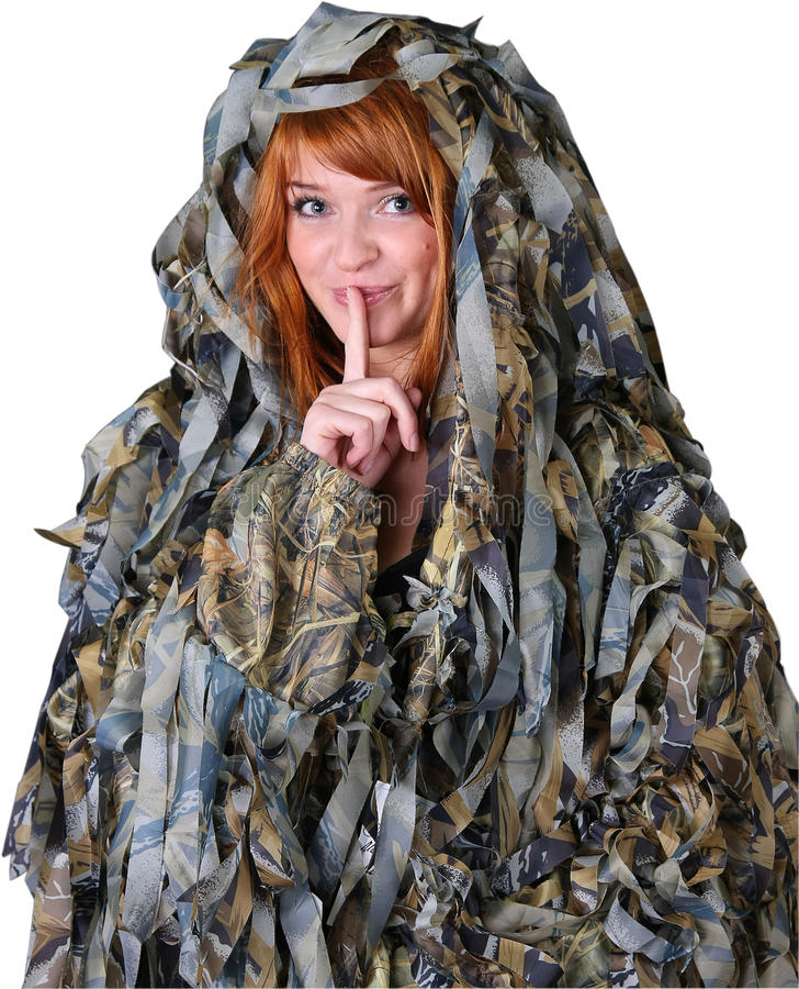 Menina camuflar da caça fotografia de stock royalty free