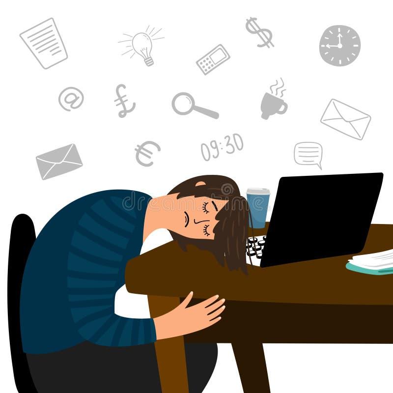 A menina cansada caiu adormecido no conceito do vetor da tabela do escritório ilustração stock