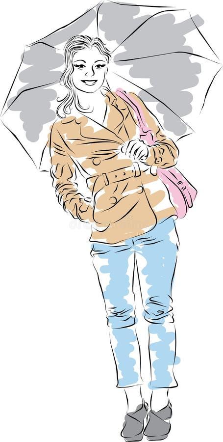 Menina caucasiano bonita ilustração do vetor