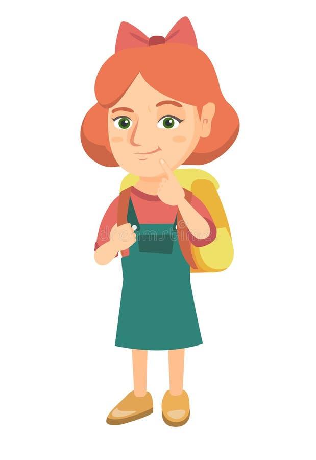 Menina caucasiano com pensamento do saco de escola ilustração royalty free