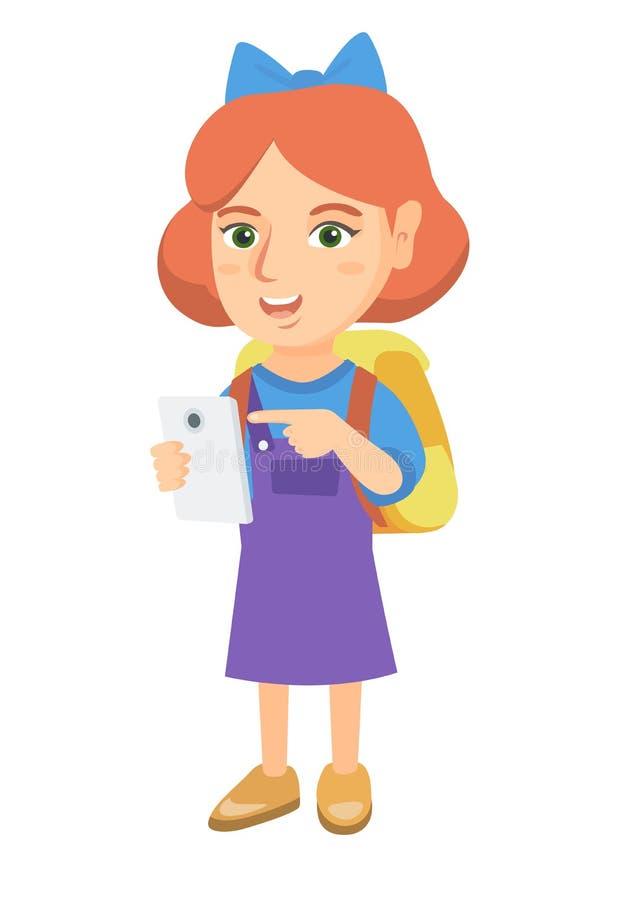 Menina caucasiano com trouxa que aponta no telefone celular ilustração do vetor
