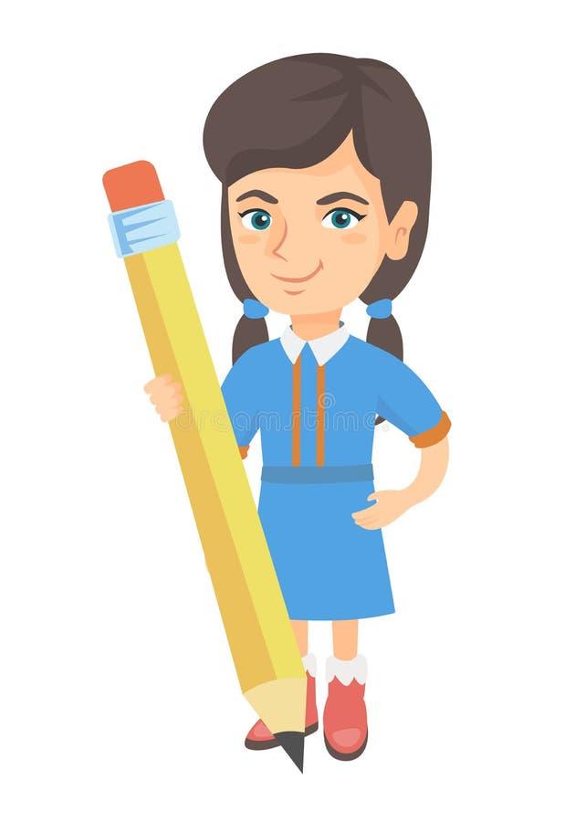 Menina caucasiano da criança que está com um lápis enorme ilustração royalty free