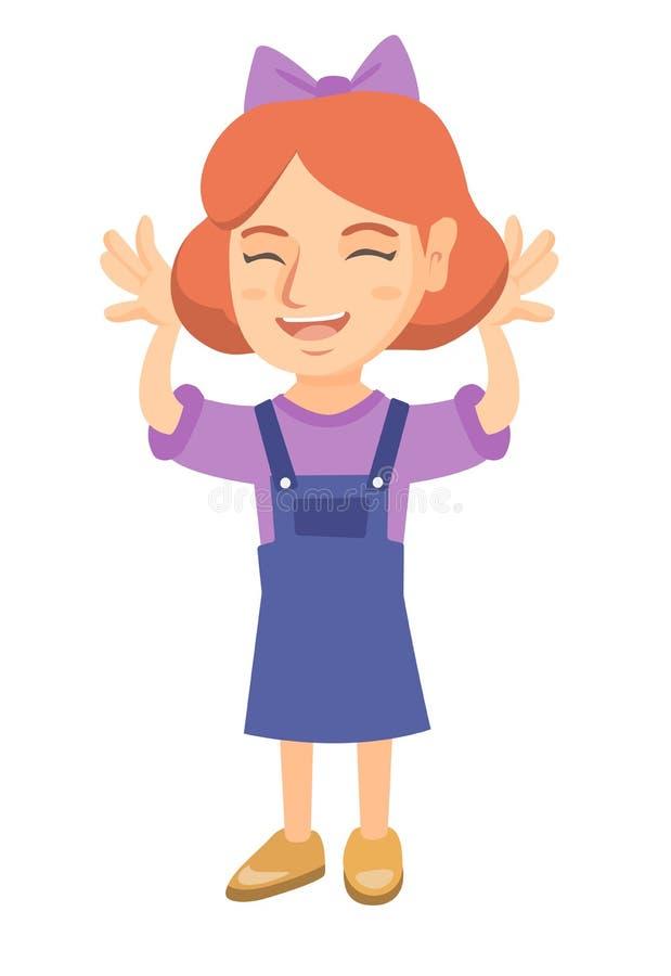 Menina caucasiano engraçada que amola com mãos ilustração stock