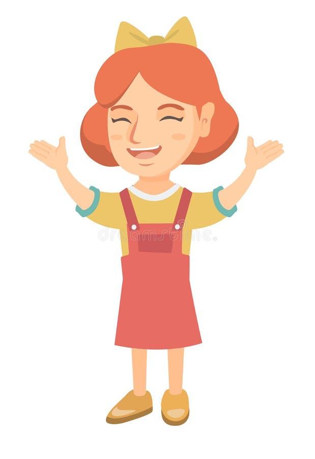Menina caucasiano feliz que está com mãos levantadas ilustração stock