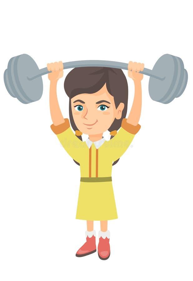 Menina caucasiano forte que levanta o barbell pesado ilustração do vetor