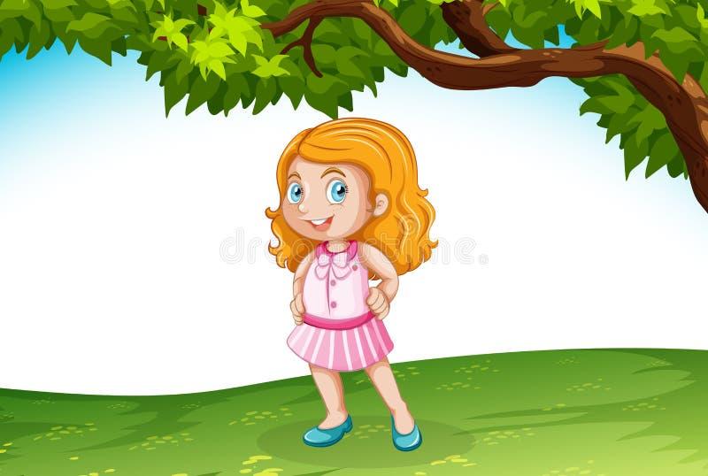 Menina caucasiano na natureza ilustração do vetor