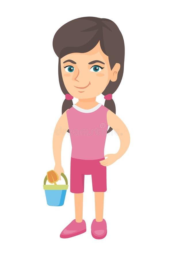 Menina caucasiano no short que guarda o balde e a pá ilustração do vetor