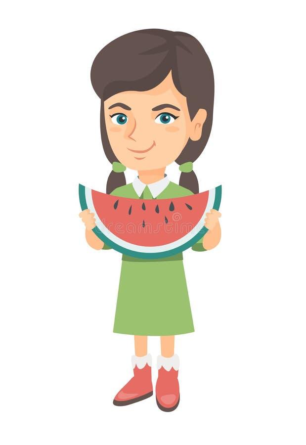 Menina caucasiano nova que come a melancia deliciosa ilustração royalty free