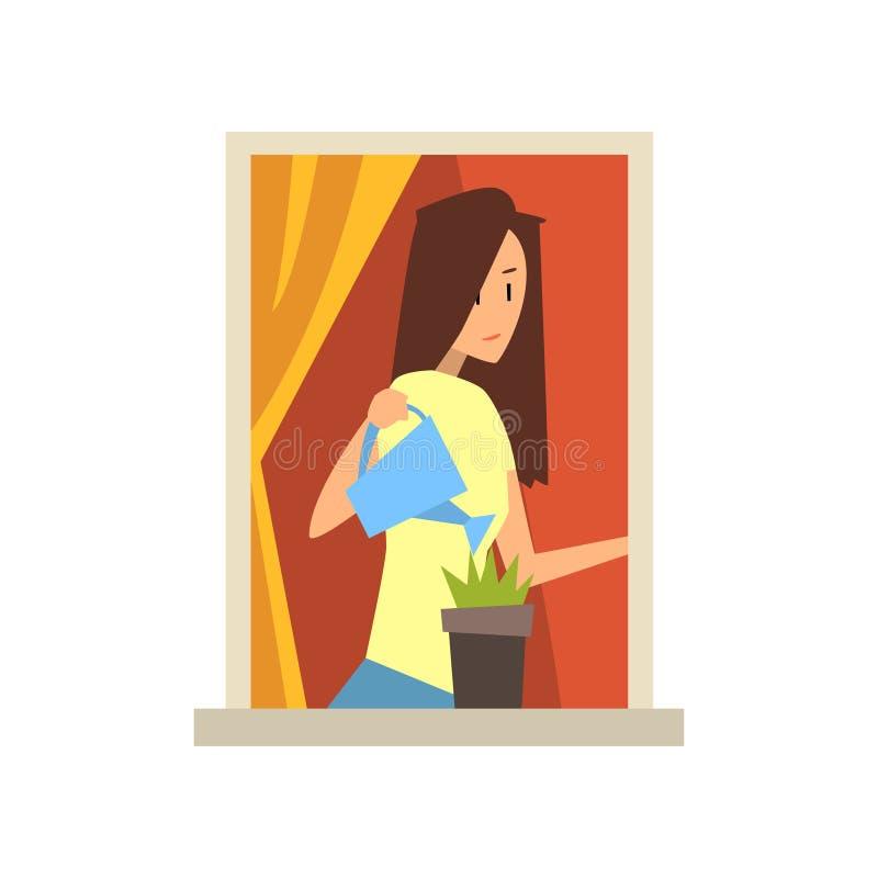Menina caucasiano nova que está a flor próxima da janela e molhar Vista no prédio de apartamentos da rua Morena dos desenhos anim ilustração royalty free