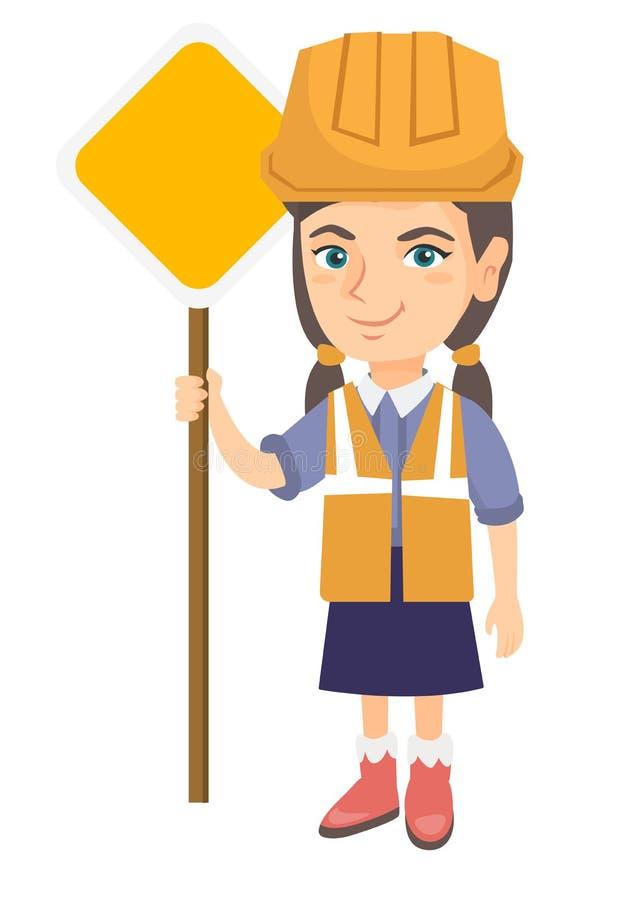 Menina caucasiano pequena do construtor que guarda o sinal de estrada ilustração stock