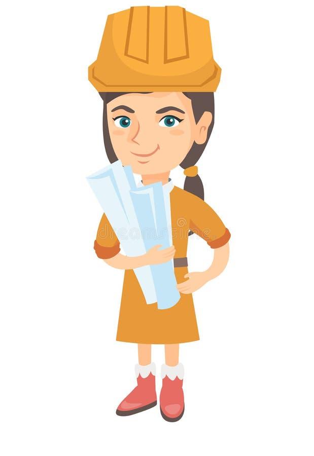 Menina caucasiano pequena do coordenador que guarda os planos de papel ilustração do vetor