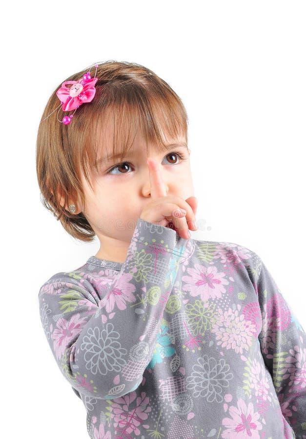 Menina caucasiano pequena isolada fotos de stock royalty free