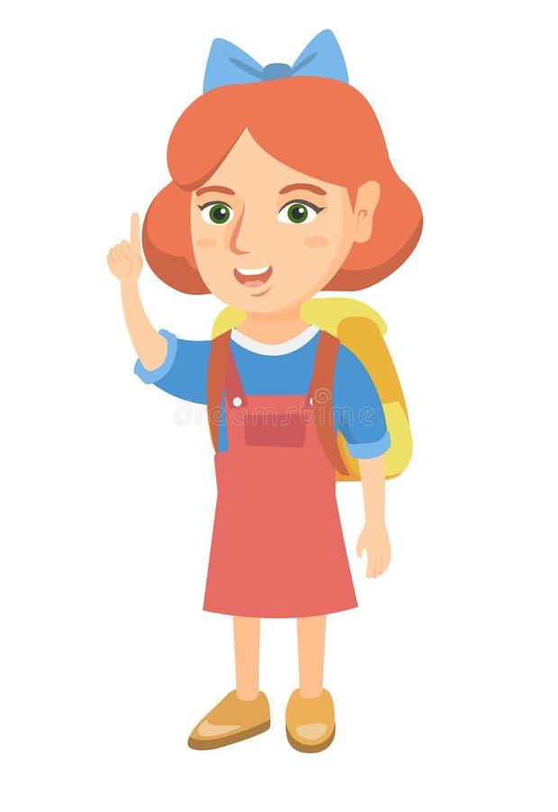 Menina caucasiano pequena que aponta seu dedo indicador acima ilustração royalty free