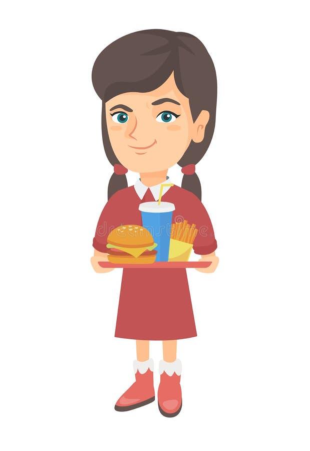 Menina caucasiano pequena que guarda a bandeja com fast food ilustração royalty free