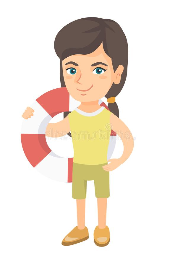 Menina caucasiano pequena que guarda um boia salva-vidas vermelho-branco ilustração stock
