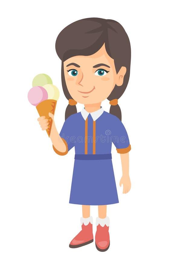 Menina caucasiano pequena que guarda um cone de gelado ilustração stock
