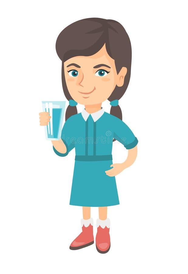 Menina caucasiano pequena que guarda um vidro da água ilustração do vetor