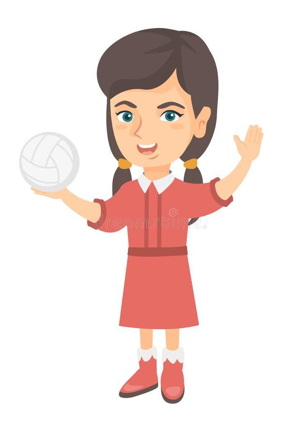 Menina caucasiano pequena que guarda uma bola do voleibol ilustração do vetor