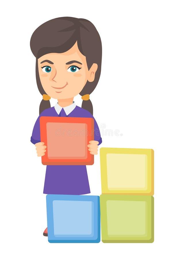 Menina caucasiano pequena que joga com cubos clourful ilustração do vetor