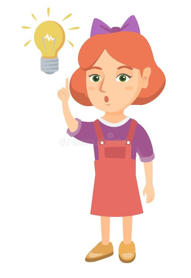 Menina caucasiano que aponta na ampola ilustração stock