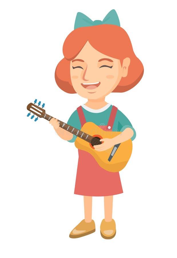 Menina caucasiano que canta e que joga a guitarra acústica ilustração stock