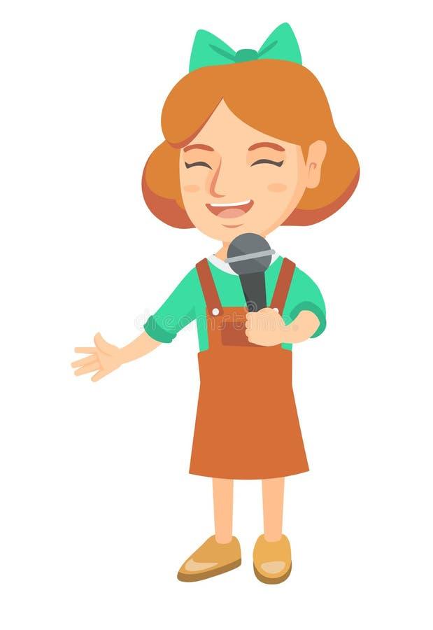 Menina caucasiano que canta em um microfone ilustração do vetor