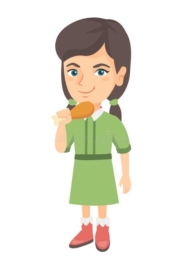 Menina caucasiano que come o pé de galinha roasted ilustração do vetor