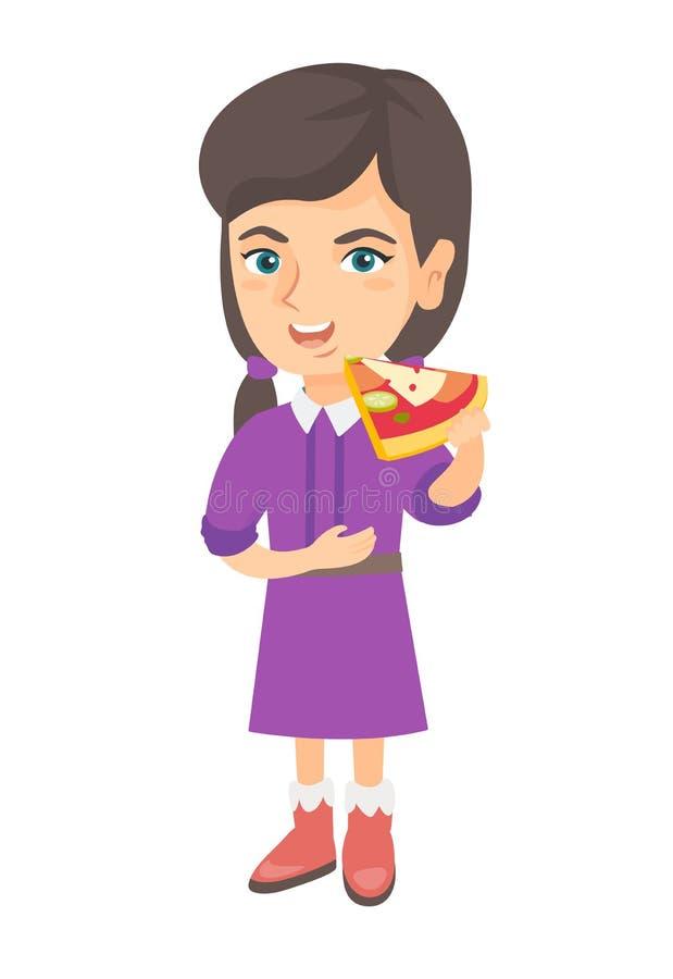 Menina caucasiano que come a pizza saboroso ilustração do vetor