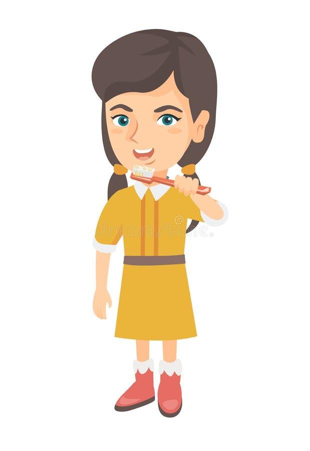 Menina caucasiano que escova seus dentes ilustração do vetor