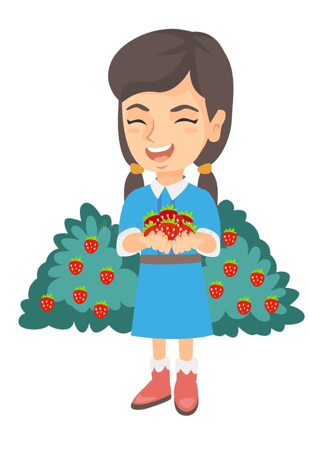 Menina caucasiano que guarda morangos frescas nas mãos ilustração royalty free