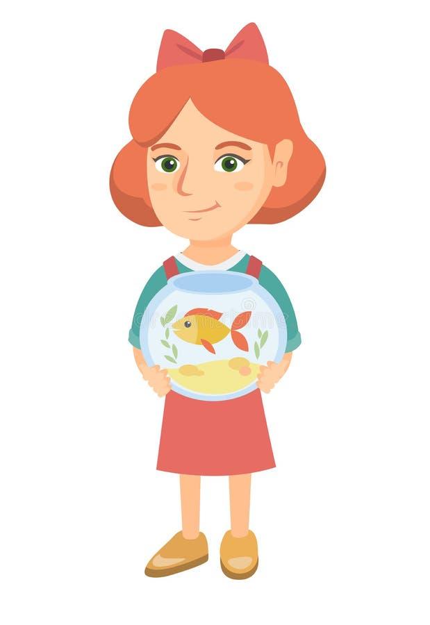 Menina caucasiano que guarda o aquário com peixe dourado ilustração royalty free