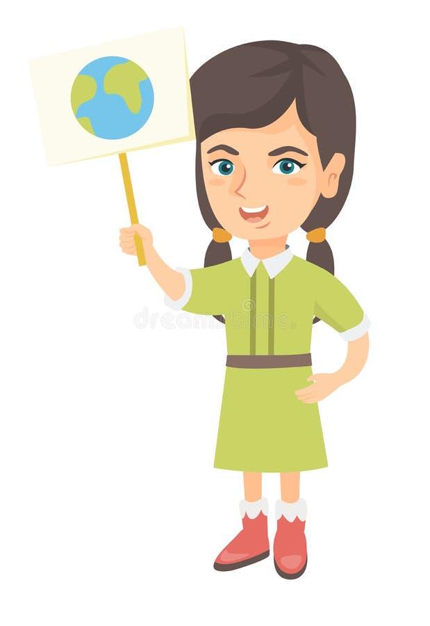 Menina caucasiano que guarda um cartaz com planeta ilustração stock