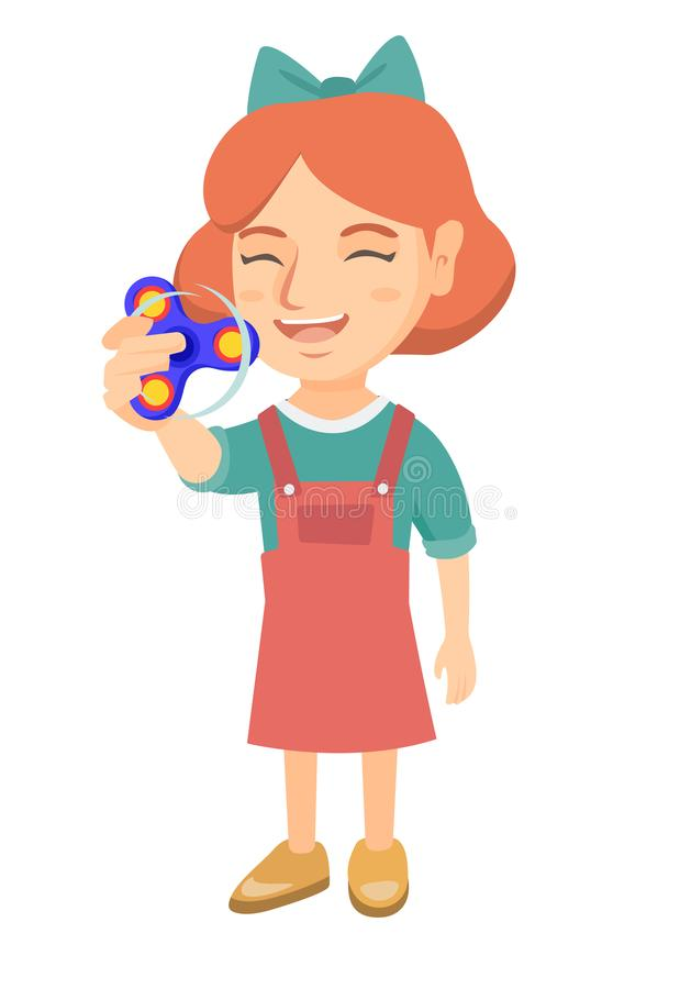 Menina caucasiano que joga com girador da inquietação ilustração do vetor