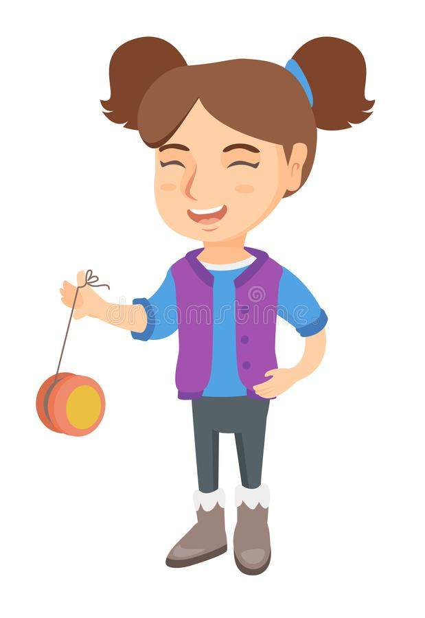Menina caucasiano que joga com io-io ilustração do vetor