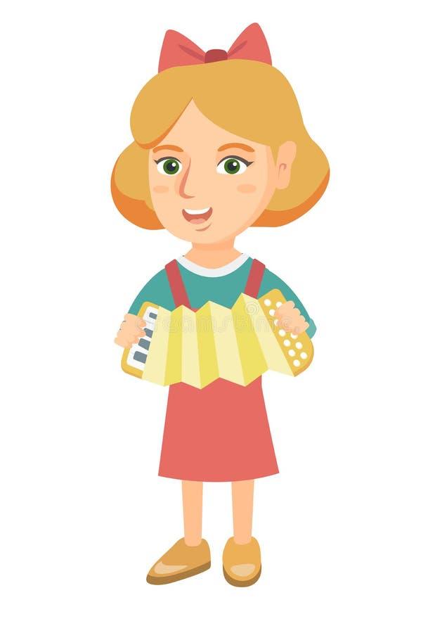Menina caucasiano que joga o acordeão ilustração stock