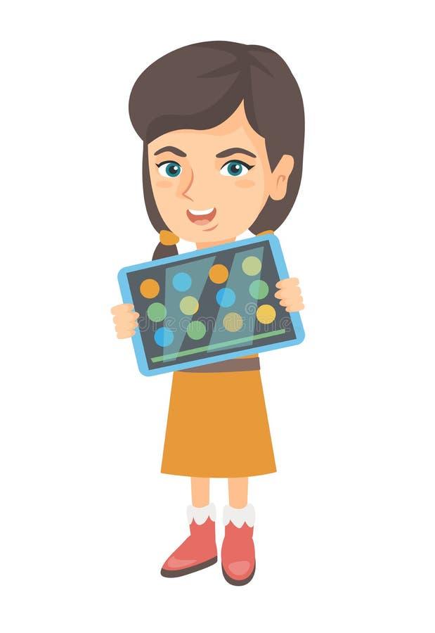 Menina caucasiano que joga o jogo em um tablet pc ilustração do vetor