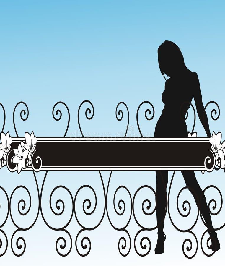 Menina, cerca e flores - vetor ilustração stock