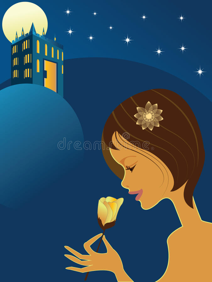 A menina cheira uma flor e um palácio na noite ilustração do vetor