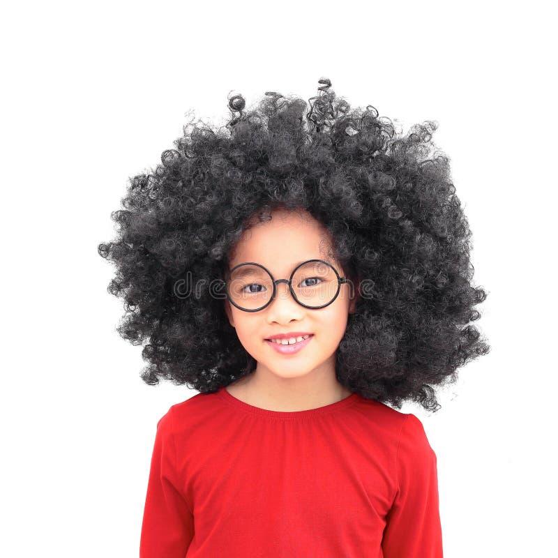 Menina chinesa afro de sorriso fotos de stock