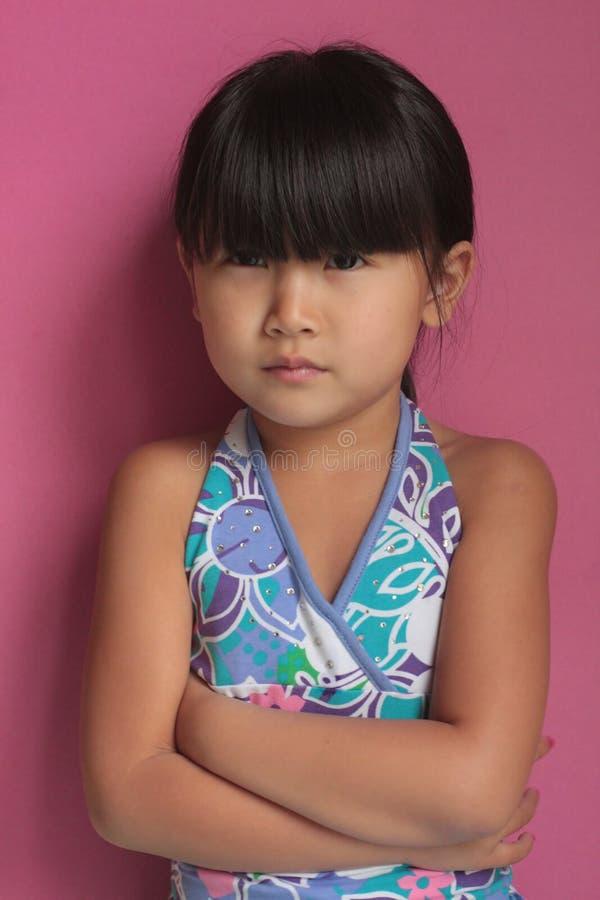 Menina chinesa asiática irritada imagens de stock
