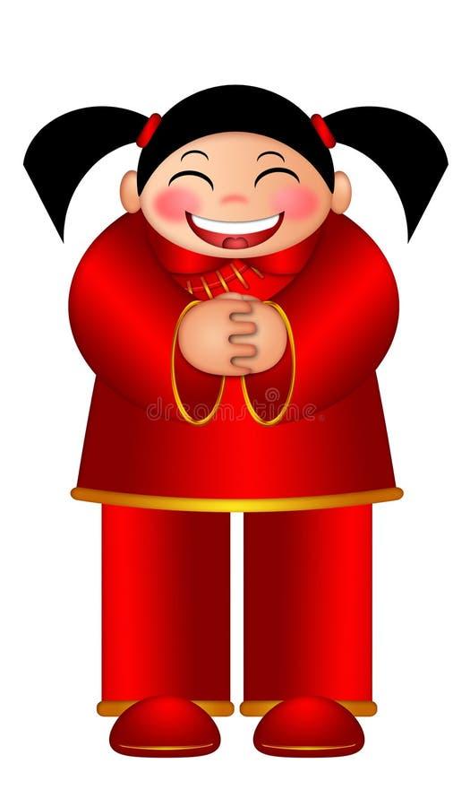 Menina chinesa que deseja a ilustração do ano novo feliz ilustração stock