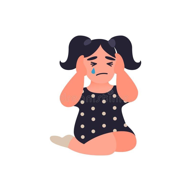 A menina cobre suas orelhas para não ouvir pais discutir A criança está sentando-se no assoalho e no grito Infância infeliz ilustração do vetor