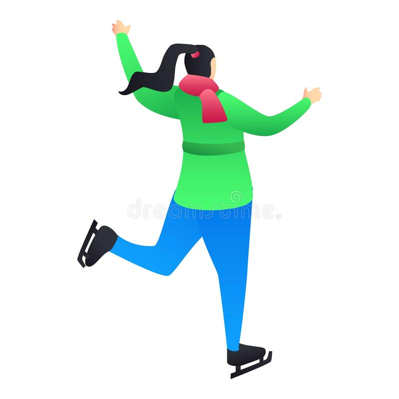 Menina com ícone dos patins de gelo, estilo isométrico ilustração stock