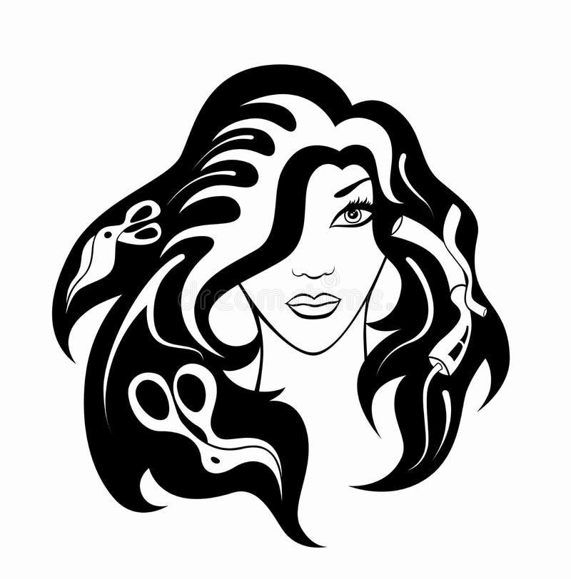 Menina com acessórios do hairdressing fotografia de stock royalty free