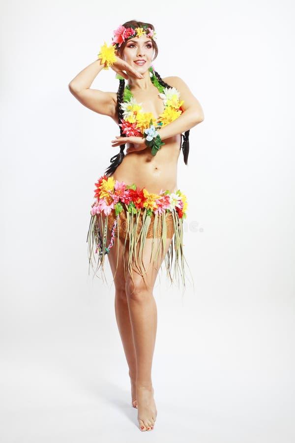 Menina com acessórios havaianos foto de stock