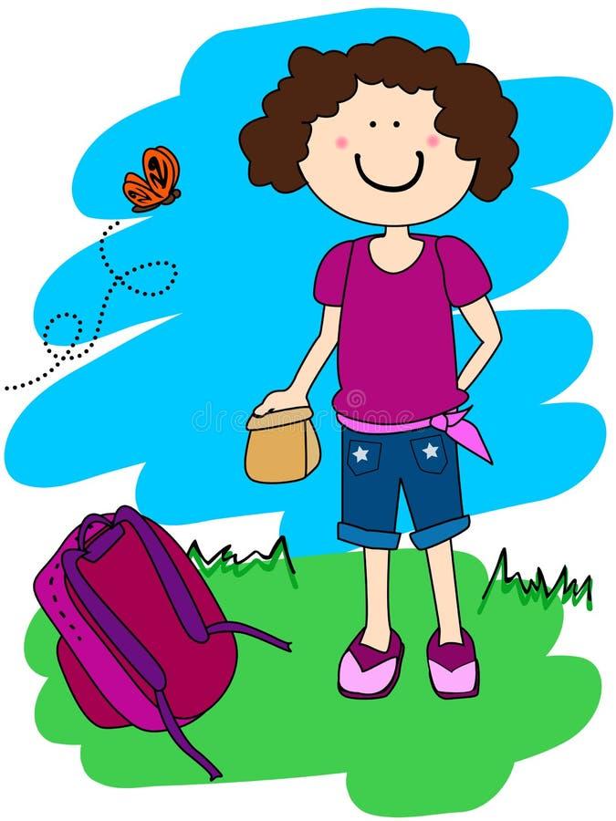 Menina com almoço e trouxa ilustração do vetor