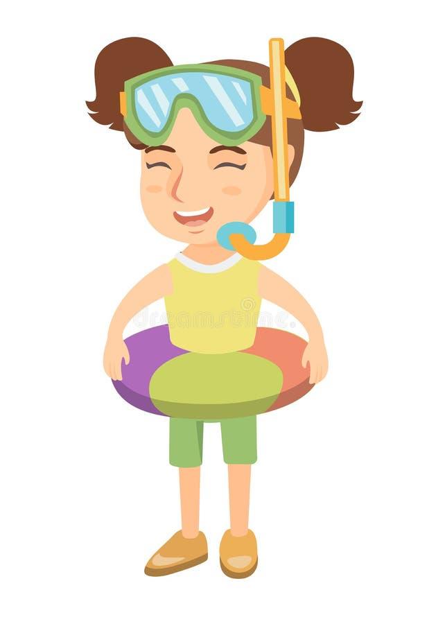 Menina com anel inflável, máscara de mergulho e tubo de respiração ilustração royalty free