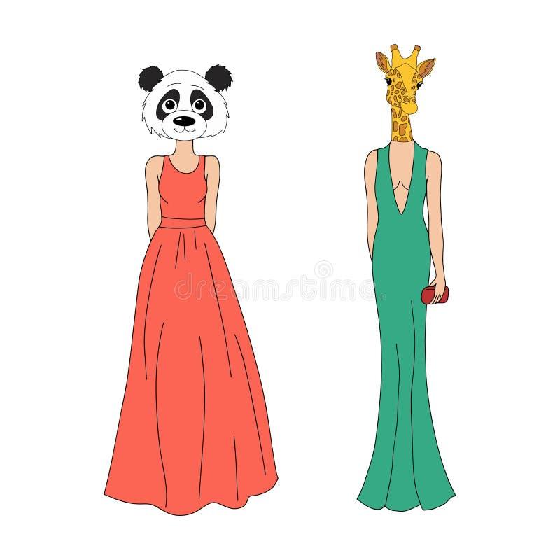 A menina com animais dirige - forma e estilo ilustração royalty free