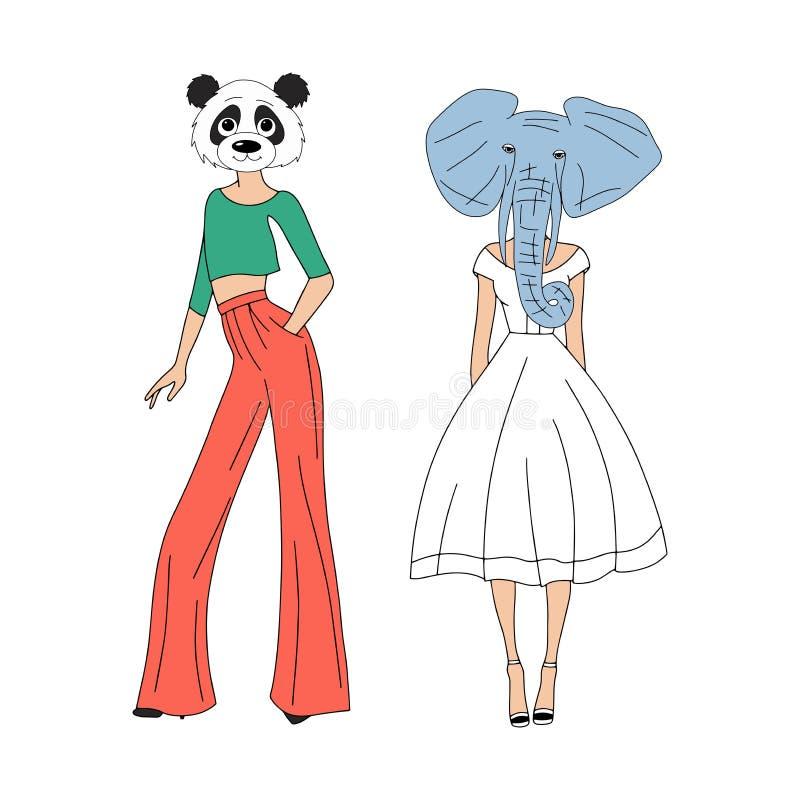 A menina com animais dirige - forma e estilo ilustração stock